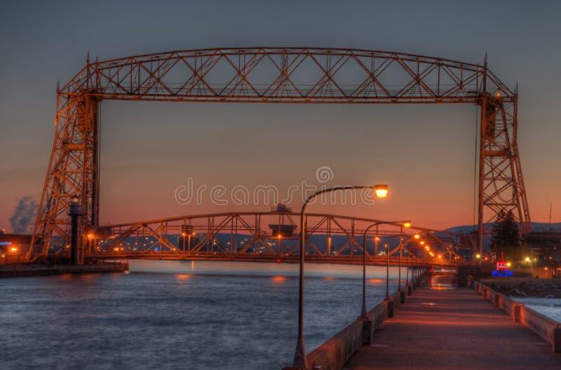O parque do canal é um destino popular do turista em Duluth, Minnesota no Lago Superior imagem de stock