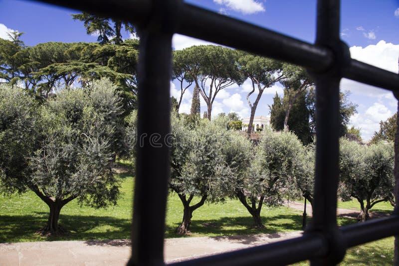 O parque na área histórica de Palatino de Roma, através das barras de aço de uma porta imagens de stock royalty free