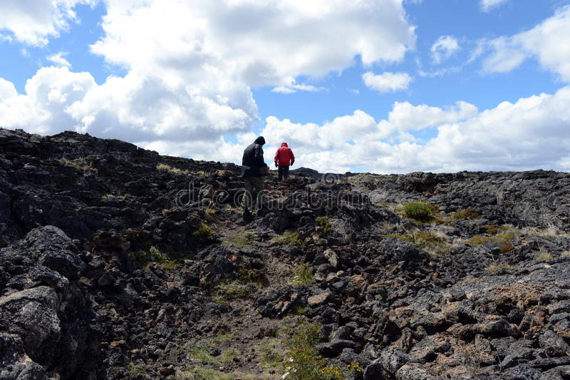 O parque nacional Pali Aike no sul do Chile imagens de stock