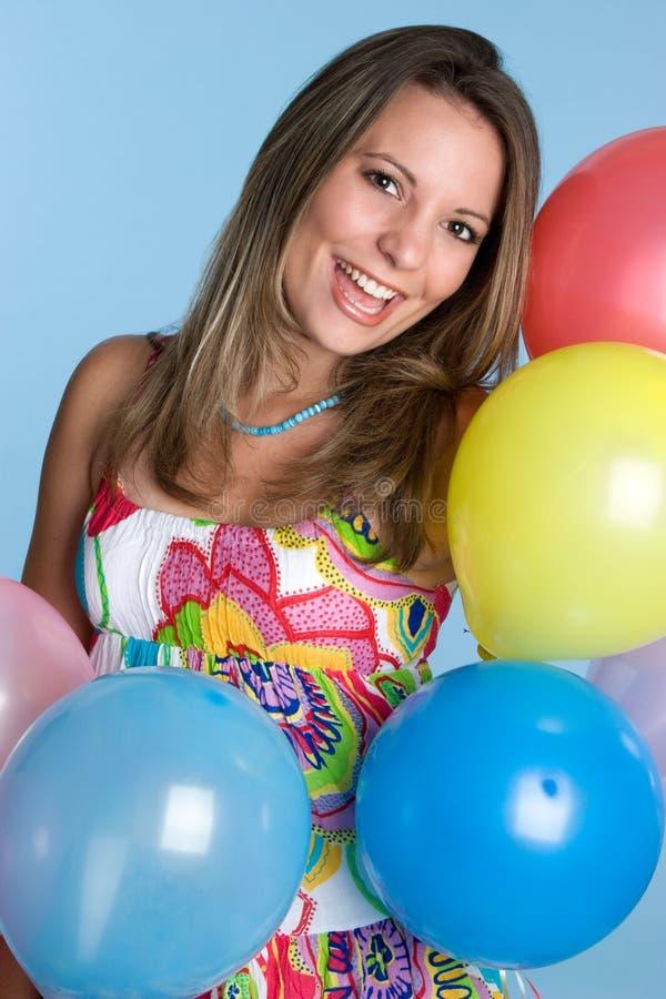 O partido Balloons a mulher fotos de stock royalty free