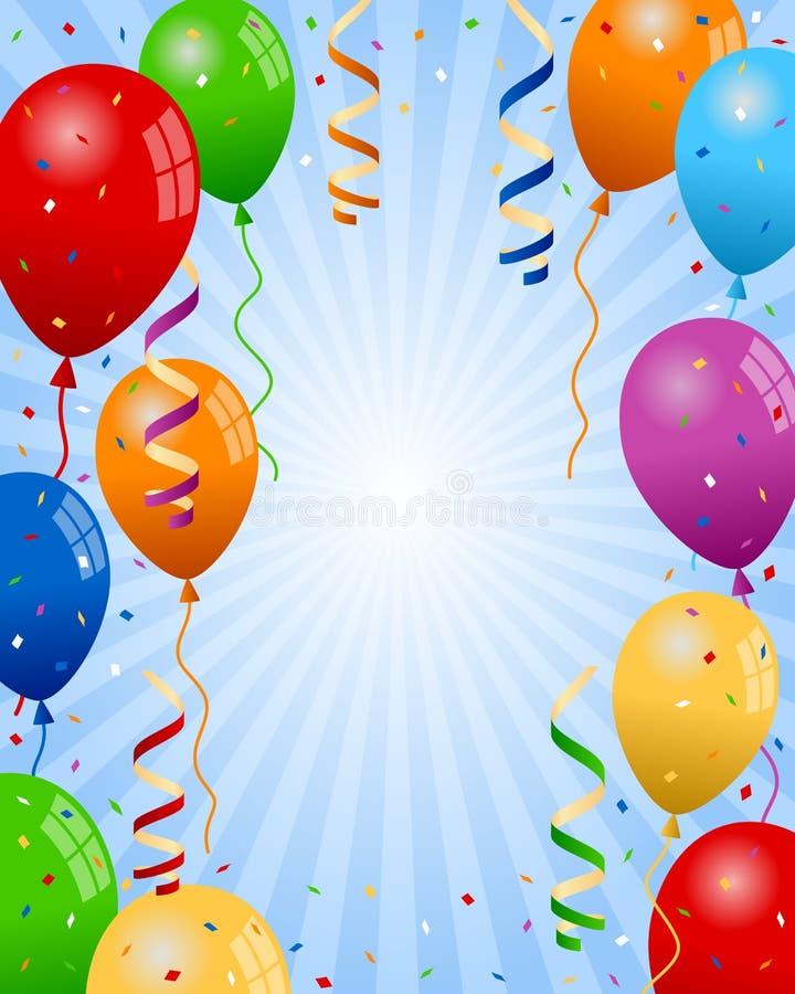 O partido Balloons o fundo do menino ilustração do vetor