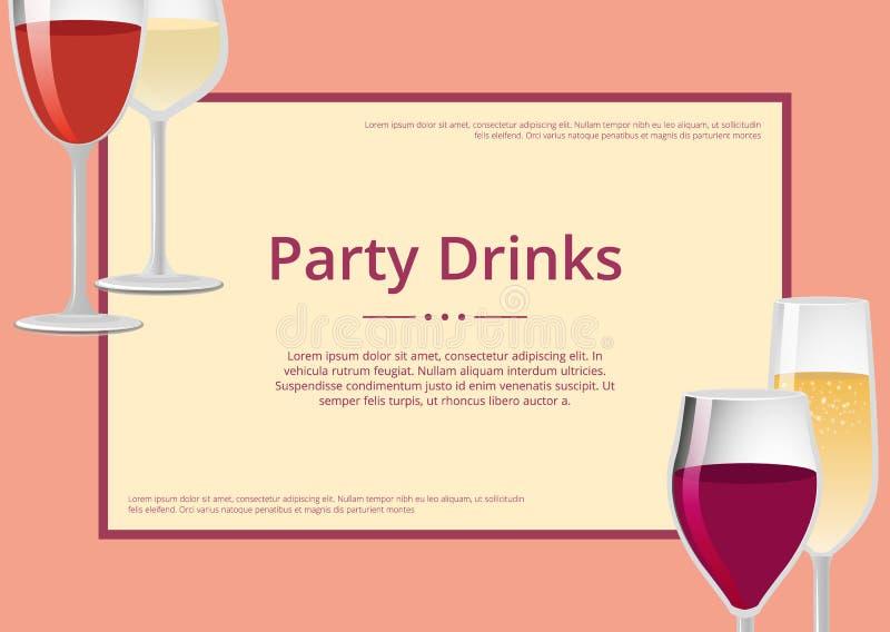 O partido bebe o vinho tinto e o Champagne Glasses Set ilustração stock