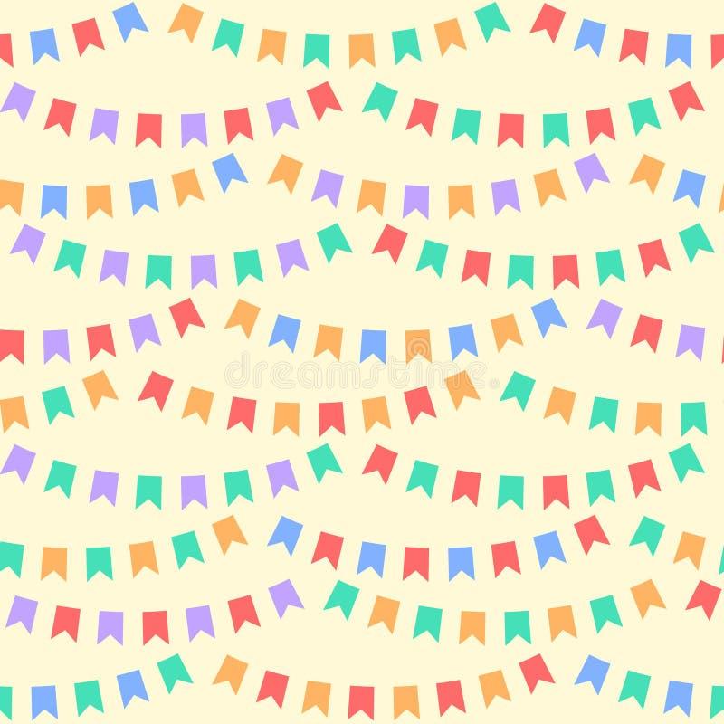 O partido colorido embandeira o teste padrão sem emenda bunting, vetor ilustração stock