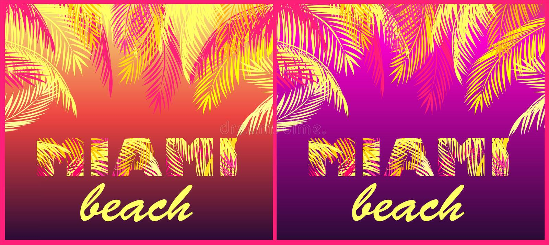O partido da camisa de T imprime a variação com rotulação de Miami Beach com folhas de palmeira amarelas e cor-de-rosa no fundo d ilustração stock
