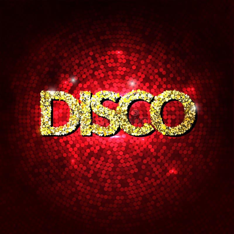 O partido de disco ilumina o fundo do ouro Fundo quente da dança Vetor do salão de baile Salão de baile do disco Cartaz do disco  ilustração stock