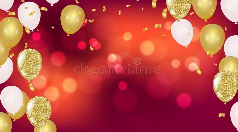 O partido do vetor balloons a ilustração Ri da bandeira dos confetes e das fitas ilustração royalty free