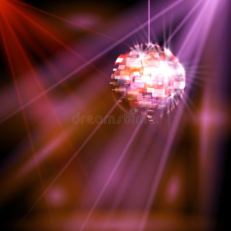 O partido ilumina a bola do disco ilustração stock