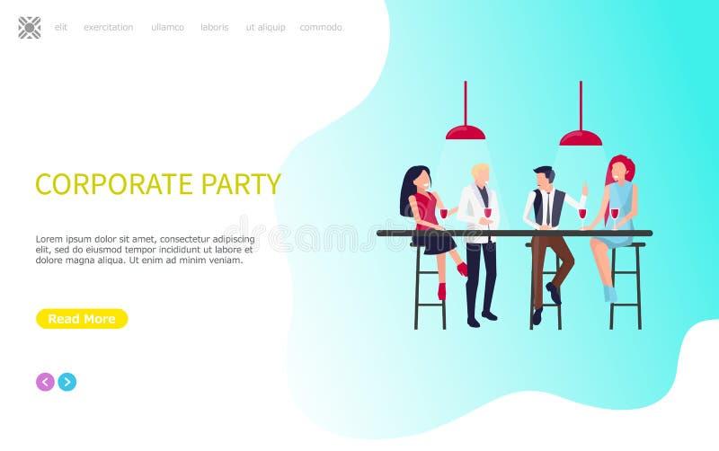 O partido incorporado, colegas de trabalho senta-se, apresenta-se e beber ilustração stock
