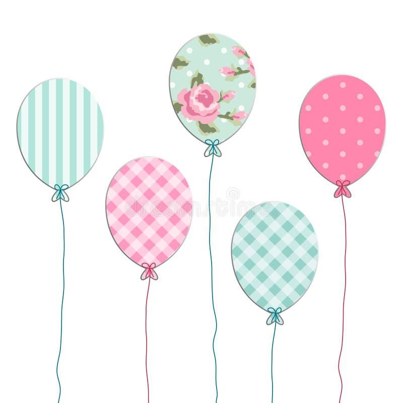 O partido retro bonito balloons como o applique do papel do registro da sucata ilustração stock