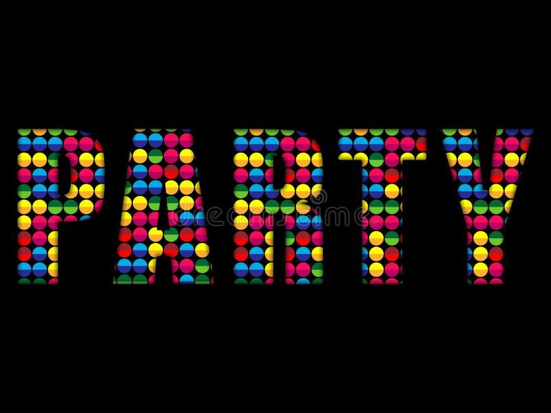O partido rotula o alfabeto colorido do disco da música ilustração stock
