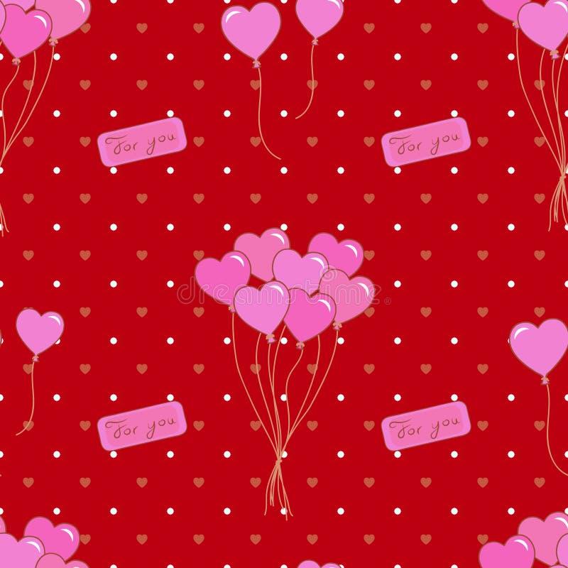 O partido sem emenda balloons o teste padrão Projeto do dia, do casamento, do aniversário, do jubileu, da recompensa e do vencime ilustração royalty free
