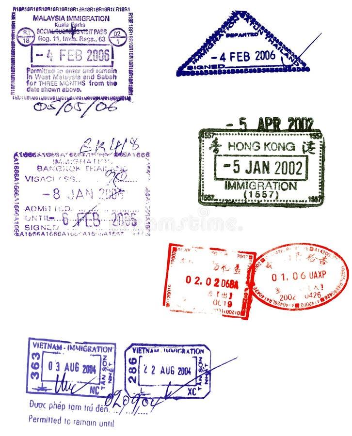O passaporte asiático carimba vetores ilustração do vetor