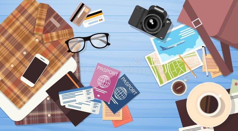 O passaporte da bagagem do curso Tickets o conceito das férias do original da roupa ilustração royalty free