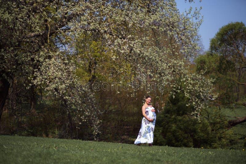 O passeio, o corredor novos da mulher gravida do viajante, girando ao redor e apreciam seu tempo livre do lazer em um parque com foto de stock royalty free