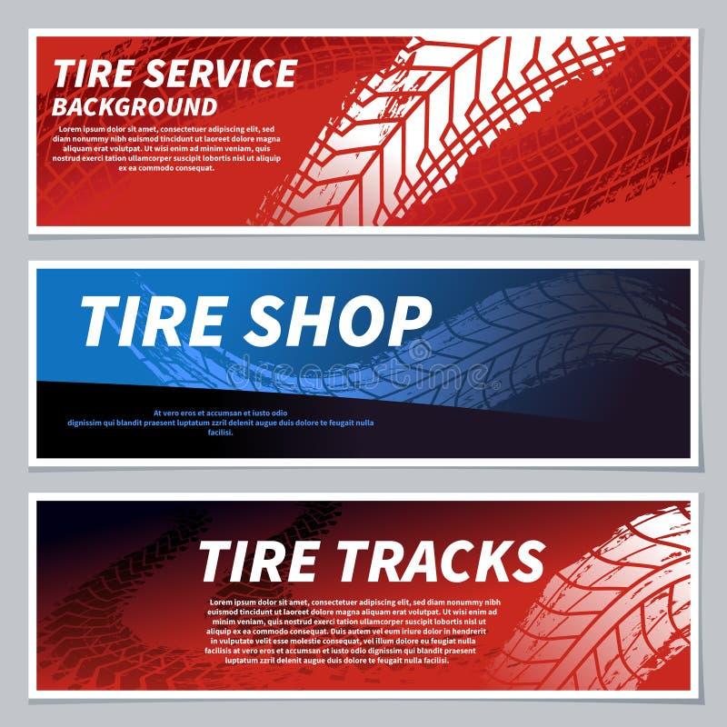 O passo do pneu segue bandeiras Cópias sujas do pneu da estrada do grunge da bicicleta da motocicleta, do carro e da raça Pise o  ilustração stock