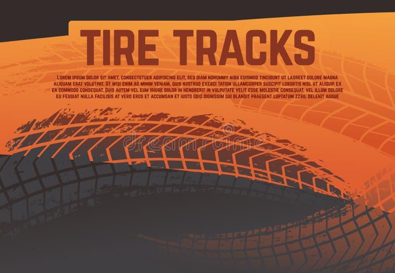 O passo do pneu segue o fundo Grunge que compete marcas da estrada do pneu Cartaz abstrato do vetor da reunião da motocicleta ilustração stock