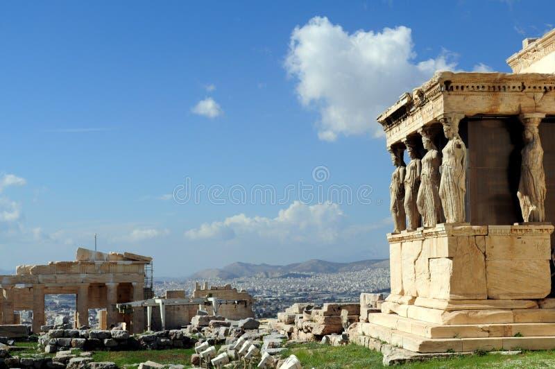O patamar da cariátide do Erechtheion, Atenas, 421â407 BC fotos de stock