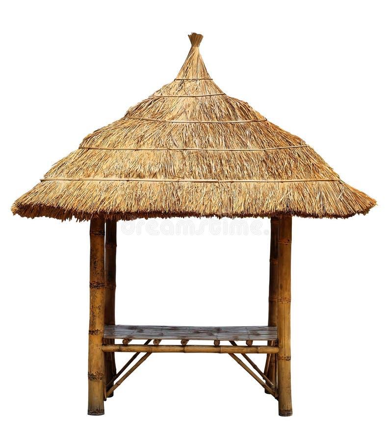 O pavilhão de bambu no fundo branco