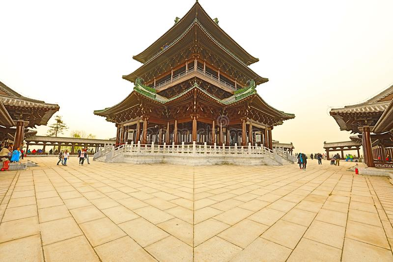 O pavilhão de Yongning, o Pequim 2019 hortícola internacional da exposição China fotografia de stock