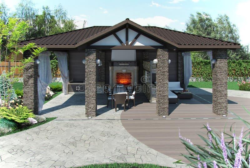 O pavilhão exterior do jardim do pátio, 3d rende ilustração royalty free