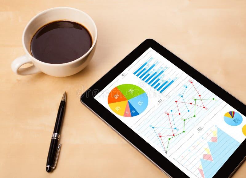 O PC da tabuleta mostra cartas na tela com uma xícara de café em uma mesa imagem de stock royalty free