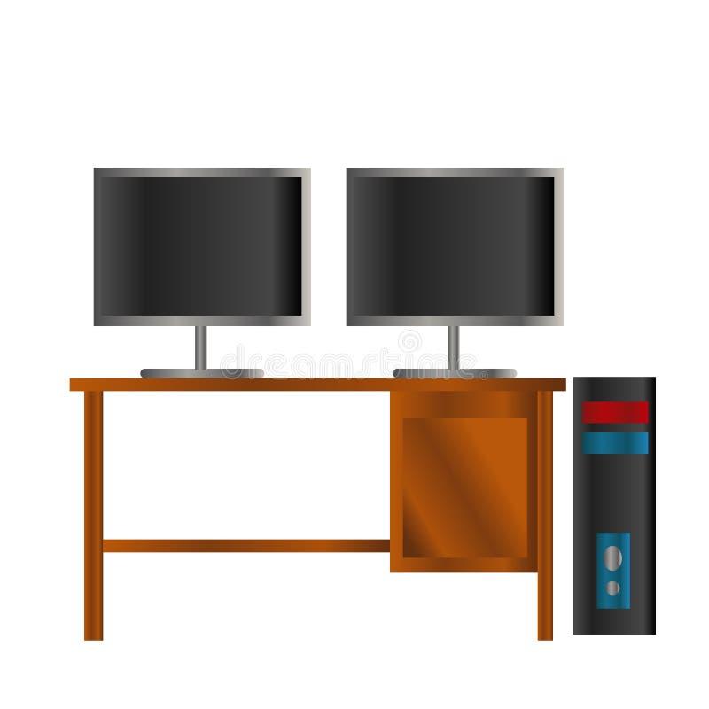 o PC preto e azul com a tela dobro do lcd do preto na tabela de madeira isolou o fundo ilustração stock
