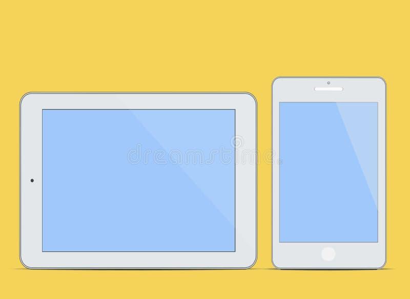 O PC vazio moderno e Smart da tabuleta telefonam ao fundo novo do conceito da informática da tela ilustração do vetor