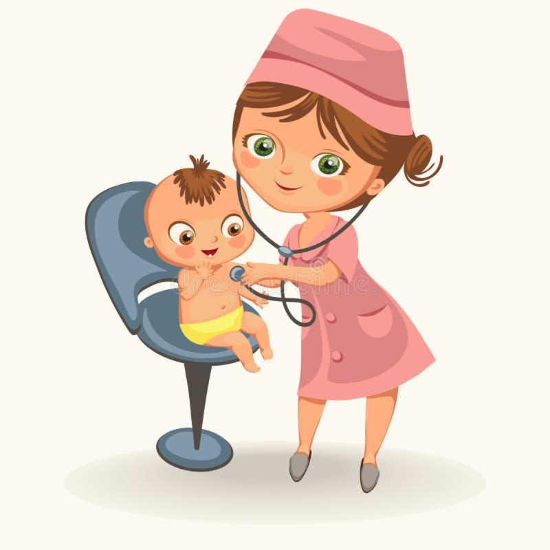 O pediatra dos desenhos animados examina o cartaz da criança ilustração stock
