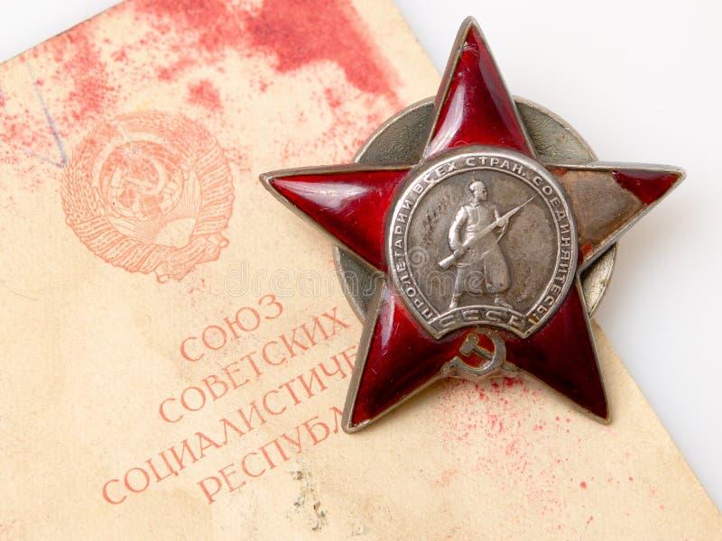 O pedido vermelho soviético da estrela imagens de stock