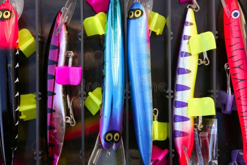 O peixe de saltwater colorido da pesca seduz a caixa imagem de stock royalty free