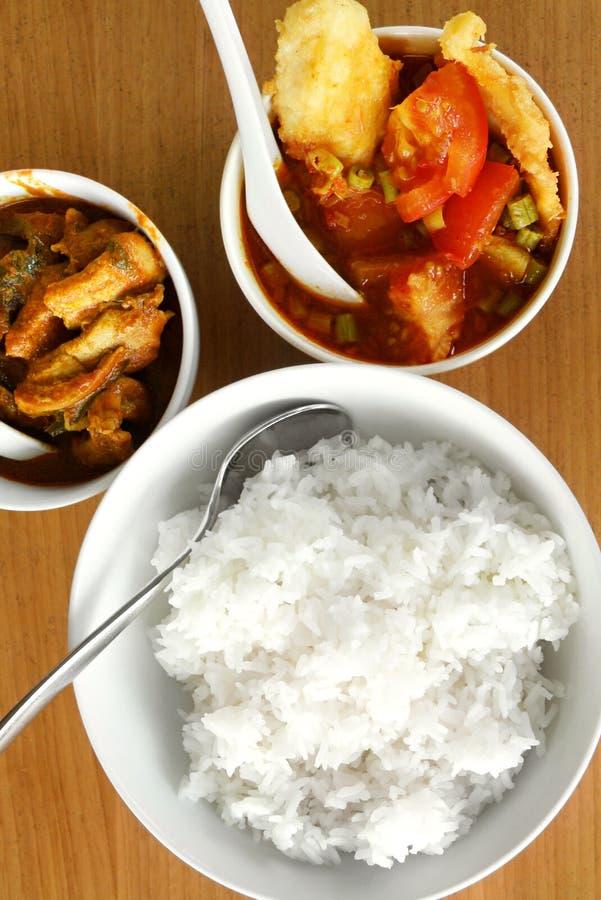 O peixe e a carne surram - pratos asiáticos do alimento da rua fotografia de stock