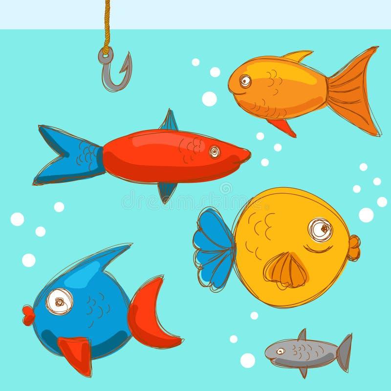 O peixe nada no mar ilustração royalty free