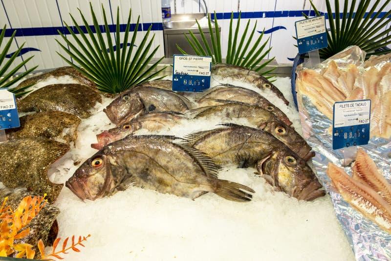 O peixe recentemente travado é apresentado no contador da loja Cherbourg Normandy França fotos de stock royalty free