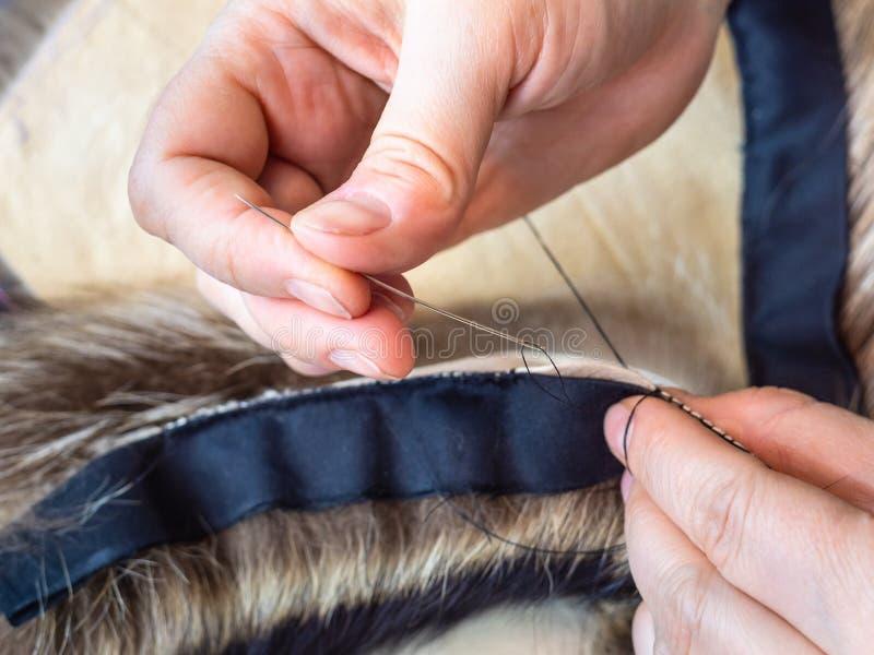 O peleteiro costura peles da pele pelo fim da agulha acima imagem de stock
