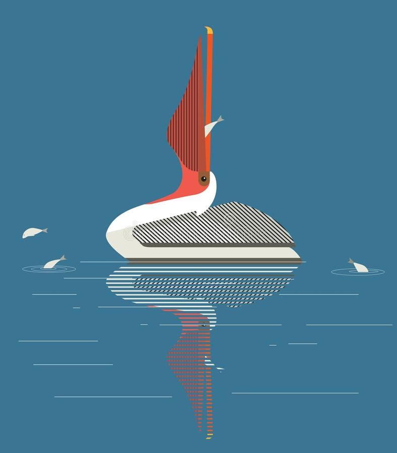 O pelicano trava peixes no lago ilustração stock