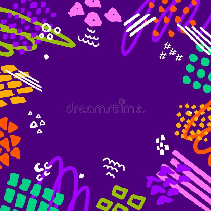 O penbrush abstrato do marcador da garatuja do garrancho afaga o fundo brilhante colorido do divertimento do quadro da beira ilustração do vetor