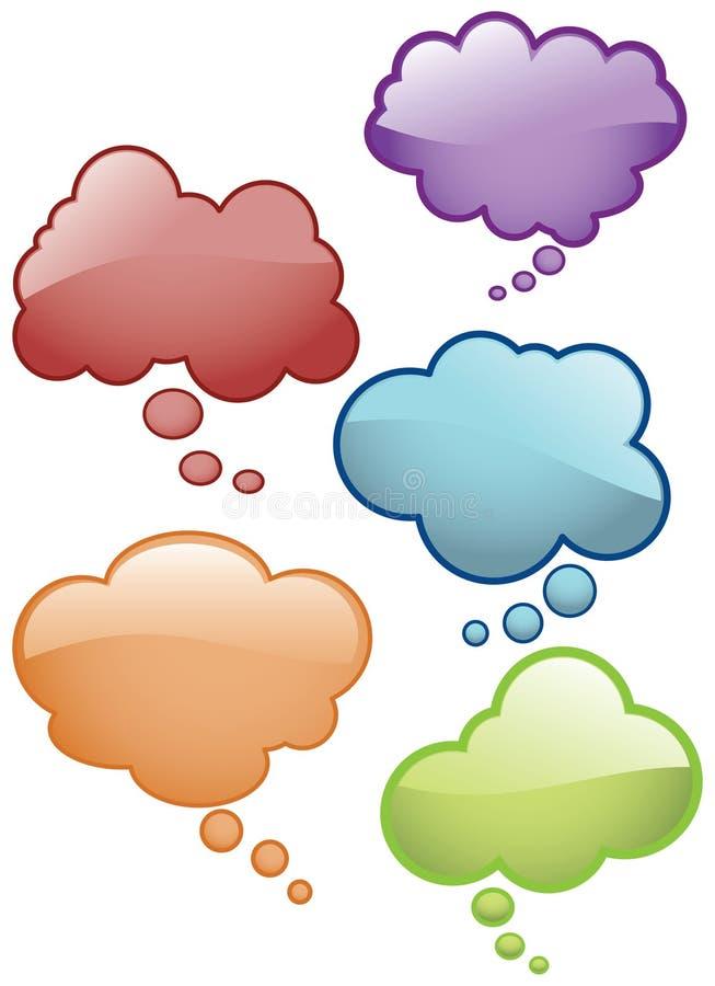 O pensamento borbulha ícones ilustração do vetor