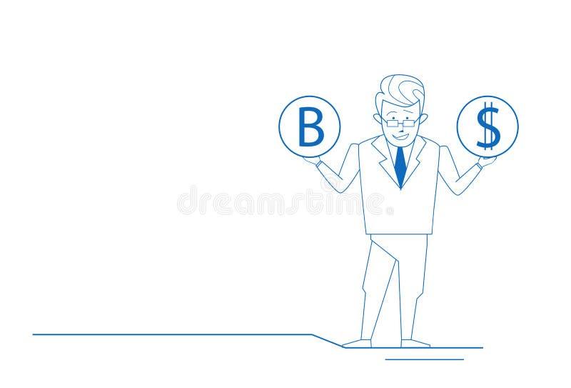 O pensamento confuso das moedas do dólar do bitcoin da posse do homem de negócios escolhe a fatura decisão da garatuja bem escolh ilustração do vetor