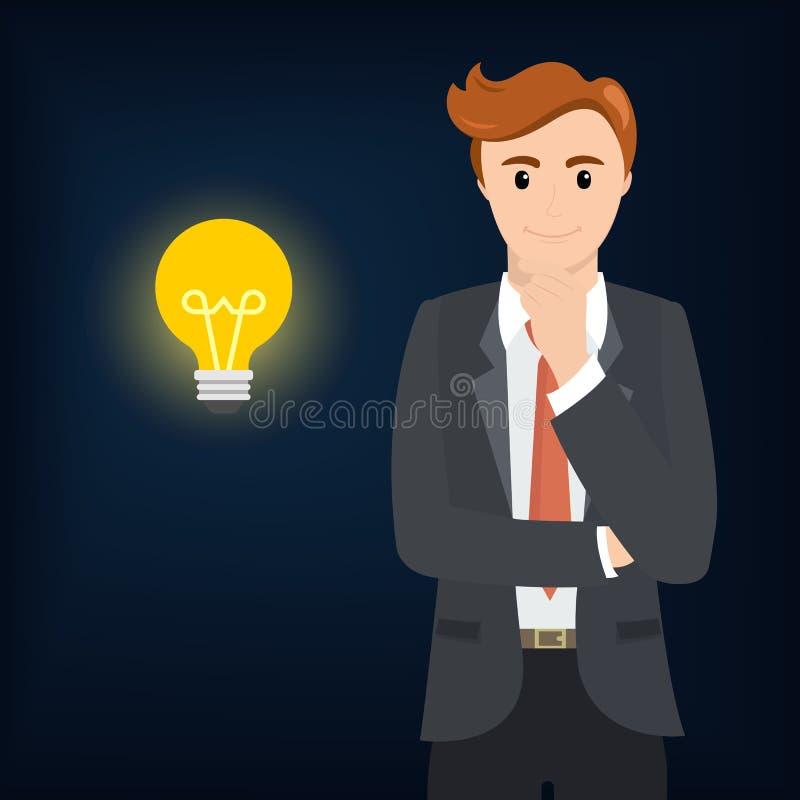 O pensamento do homem de negócios e o bulbo brilham ilustração royalty free