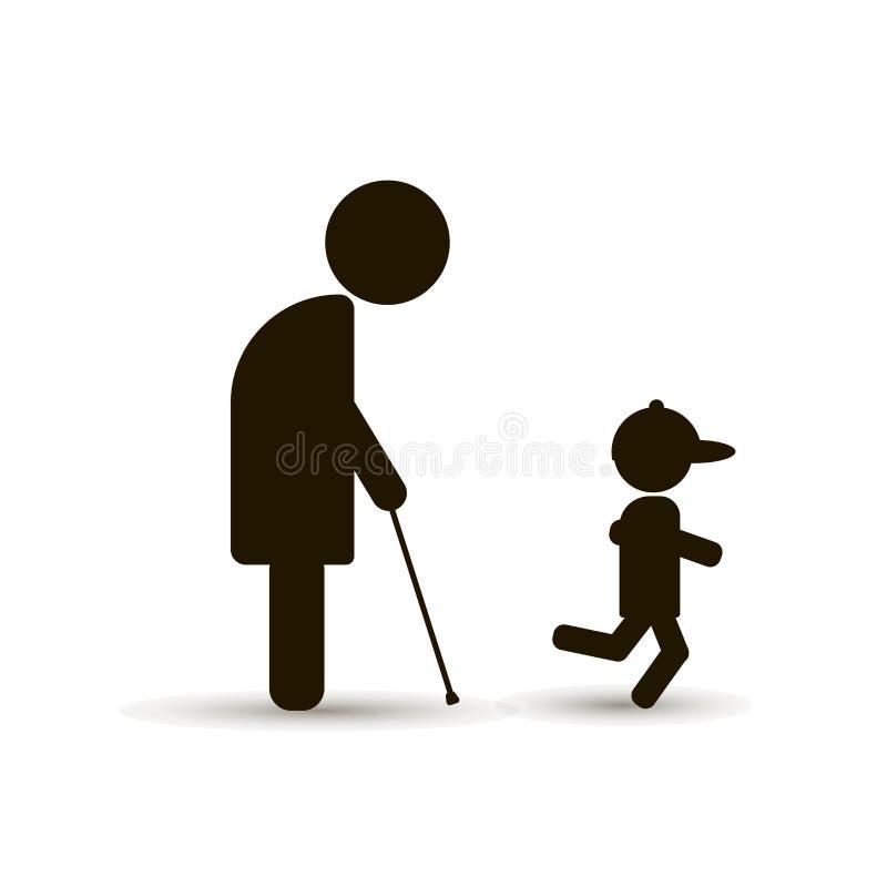 O pensionista anda com seu neto novo ilustração royalty free