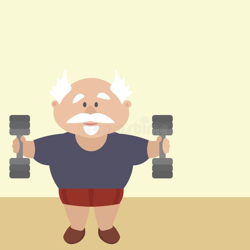 O pensionista ativo é contratado no gym, levantando peso ilustração stock