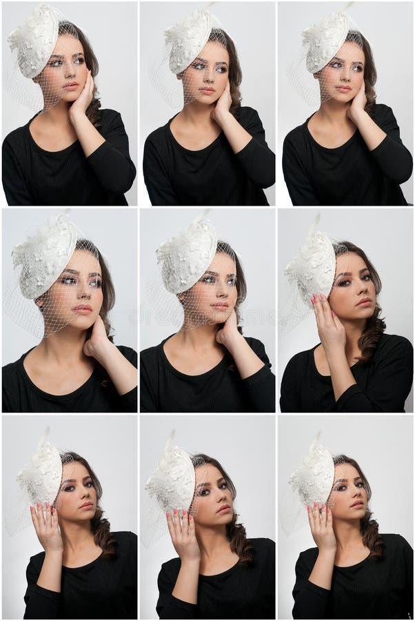 O penteado e compõe - o retrato bonito da arte da moça Morena bonito com tampão e o véu brancos, tiro do estúdio Fêmea atrativa imagem de stock royalty free