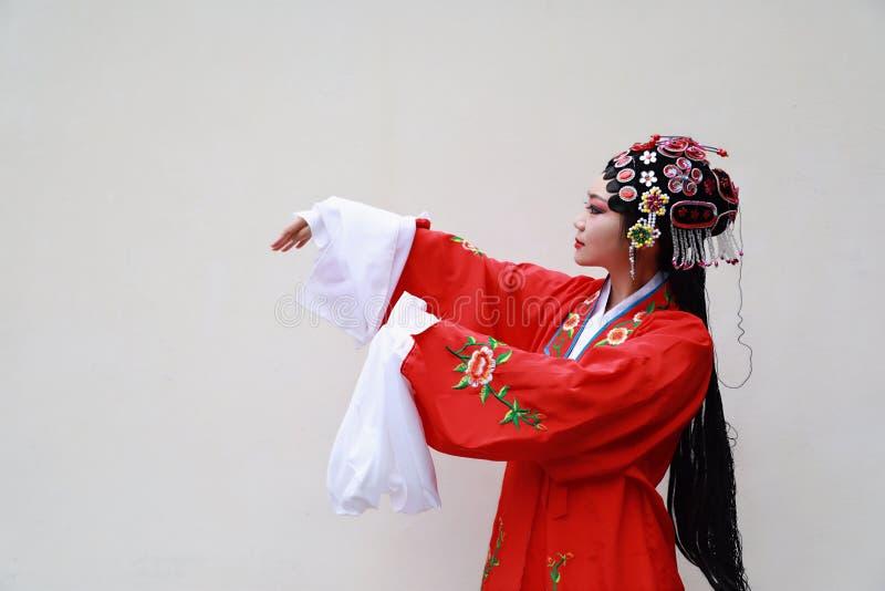 O Pequim chinês Opera de Peking da mulher de Aisa traja do fundo branco tradicional do drama do papel de China do jardim o close- imagens de stock royalty free