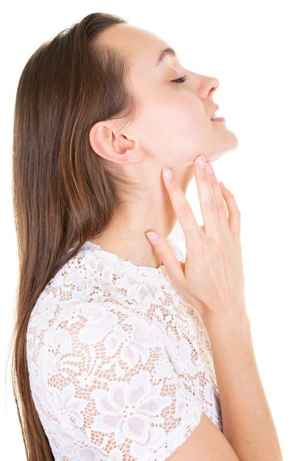 O perfil bonito da mulher importa-se com o pescoço da pele foto de stock royalty free