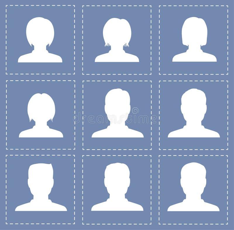 O perfil dos povos mostra em silhueta mulheres e homens na cor branca ilustração do vetor