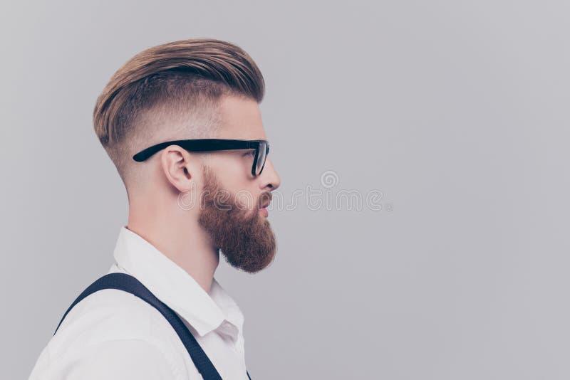 O perfil metade-enfrentou o retrato da vista lateral do conce seguro sério imagem de stock royalty free