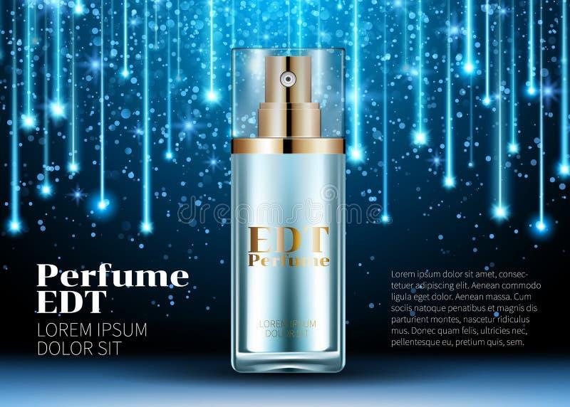O perfume clássico contido em anúncios azuis de vidro bonitos luxuosos de um cartaz da garrafa zomba acima da linha de incandescê ilustração do vetor