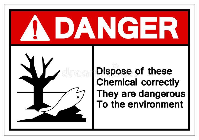 O perigo dispõe destes químicos corretamente eles está perigoso ao sinal do símbolo do ambiente, ilustração do vetor, isolado lig ilustração do vetor