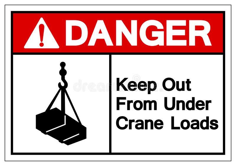 O perigo mantém-se para fora de debaixo de Crane Loads Symbol Sign, ilustração do vetor, isolado na etiqueta branca do fundo EPS1 ilustração royalty free