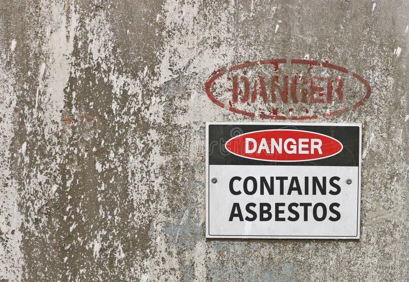 O perigo vermelho, preto e branco, contém o sinal de aviso do asbesto imagens de stock royalty free
